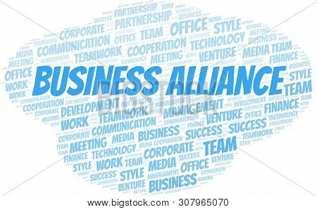 Business Alliance Word Cloud. Collage Made With Text Only.
