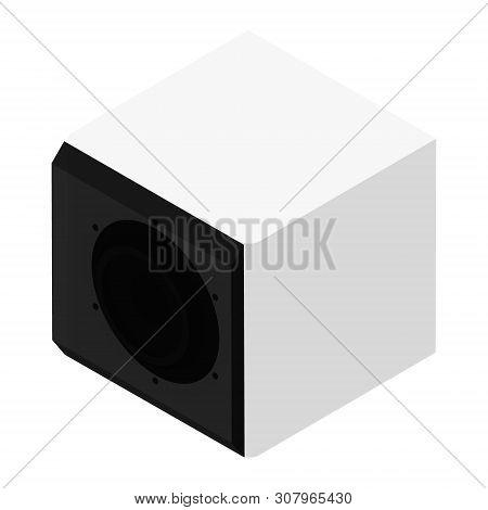 Subwoofer Isometric View Isolated On White Background. Professional Music Studio Equipment