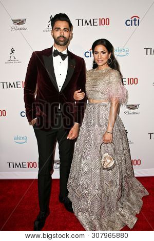 NEW YORK-APR 23: Hasan Minhaj (L) and Beena Patel attend the 2019 Time 100 Gala at Frederick P. Rose Hall, Jazz at Lincoln Center on April 23, 2019 in New York City.