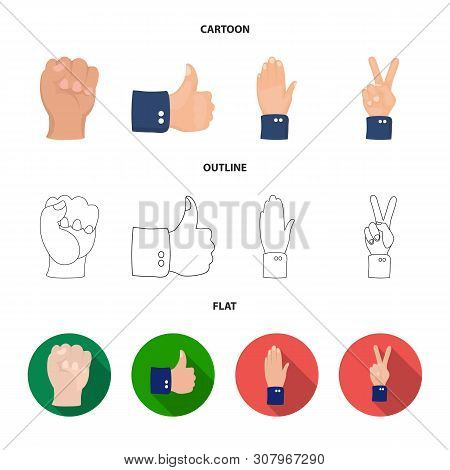 Vector Design Of Animated And Thumb Sign. Collection Of Animated And Gesture Stock Vector Illustrati