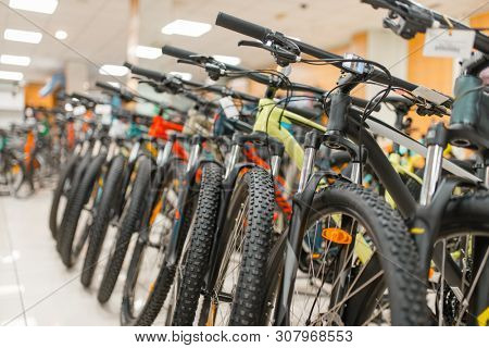 Rows of mountain bicycles in sports shop, nobody