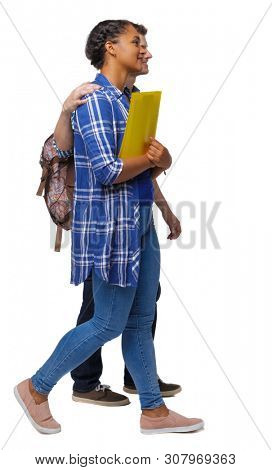 Side view of interracial going couple. walking friendly girl and guy holding hands. Rear view people collection. backside view of person. Isolated over white. Young students go past embracing. poster
