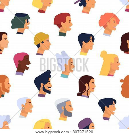 Seamless Pattern With Heads Of Young And Elderly Stylish Men And Women With Various Hairstyles. Back
