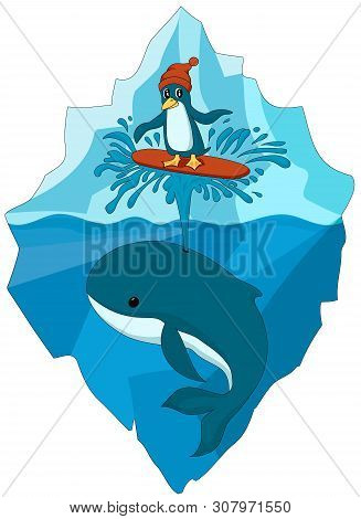 Colorful Illustation Of Cartoon Penguin In Hat Surfing On Whale Spout In The Ocean. Iceberg Backgrou