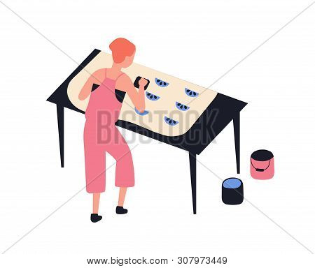 Funny Girl Printing Pattern On Fabric Using Woodblocks And Paint Isolated On White Background. Cute