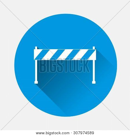Vector Icon Barrier On Blue Background. Flat Image Road Barrier With Long Shadow. Layers Grouped For