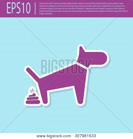 Retro Purple Dog Pooping Icon Isolated On Turquoise Background. Dog Goes To The Toilet. Dog Defecate