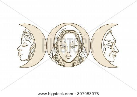 Triple Goddess As Maiden, Mother And Crone, Beautiful Woman, Symbol Of Moon Phases. Hekate, Mytholog
