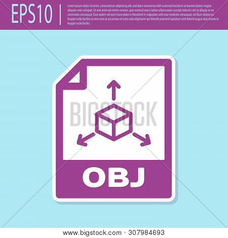Retro Purple Obj File Document Icon. Download Obj Button Icon Isolated On Turquoise Background. Obj