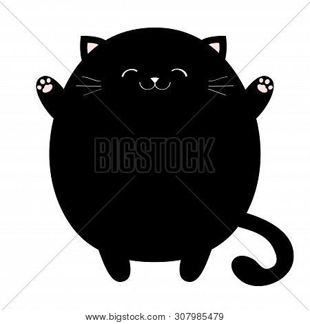 Cat Ready For A Hugging. Black Round Fat Pet Icon. Open Hand Pink Paw Print. Kitty Reaching For A Hu
