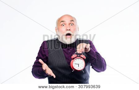 Lifetime Ageing And Getting Older. Time Does Not Spare Anyone. Time And Age Concept. Bearded Man Clo