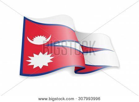 Nepal Flag In The Wind. Flag On White Vector Illustration