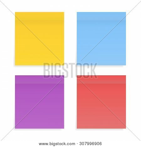 Different Color Paper Stickers Vector Collection. Sticky Colored Notes. Post Note Paper. Place Any T