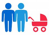 A schematic depiction of a family couple of gay men with children, icon poster
