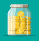 Glass money jar full of gold coins. Saving dollar coin in moneybox. Growth, income, savings, investment. Symbol of wealth. Business success. Flat style vector illustration. poster