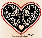 Paper cutout Scherenschnitte birds tree and heart poster
