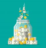 Glass money jar full of gold coins and banknotes. Saving dollar coin in moneybox. Growth, income, savings, investment. Symbol of wealth. Business success. Flat style vector illustration. poster