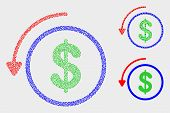 Dot and mosaic undo payment icons. Vector icon of undo payment combined of irregular circle dots. Other pictogram is constructed from dots. poster