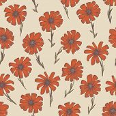 Tender warm seamless pattern with red and orange chamomile flowers. Retro hand drawn illustration of beautiful terra-cotta gerbera flower, texture for textile, wrapping paper, surface, background poster