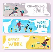 Work Time and Office Management Header Banner Set. Effective Task Prioritizing Organization. Planning Days Hours for Effective Productivity and Rest. Job Schedule Optimization Vector Flat Illustration poster