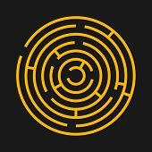 Round labyrinth maze game. Maze circle fun puzzle isolated on black background. Puzzle riddle logic game concept. Vector illustration poster