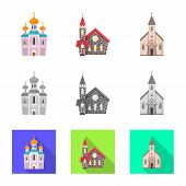 Isolated object of cult and temple sign. Set of cult and parish vector icon for stock. poster