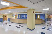 Hospital reception desks in new modern hospital poster