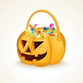 Tricks or Treats Halloween Jack O Lantern. Vector Illustration of Festive Basket with Sweets poster