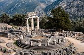 circular temple (tholos) of Athena Pronaia Sanctuary in  Delphi oracle, Greece poster