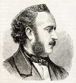 Jules Simon old engraved portrait (French statesman and philosopher). Created by Chenu after photo of Petit, published on L'Illustration, Journal Universel, Paris, 1863 poster