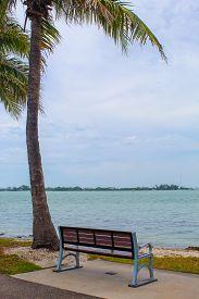 Bench With A View Just After A Storm At Bird Key Car Park - Sarasota, Florida