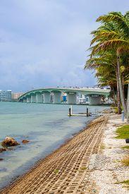 John Ringling Bridge From Bird Key Car Park Just After A Strom  - Sarasota, Florida