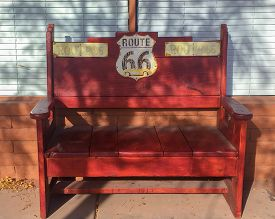 Route 66 Bench Out Side A Store In Winslow Arizona