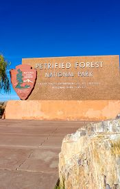 Petrifed Forest National Park Sign Off Route 66 In Arizona - November 3, 2018