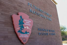 Petrifed Forest National Park Visitor Center Sign In Arizona Off Route 66 - November 3, 2018