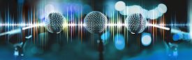 Microphone And Sound Waves.live Music And Blurred Stage Lights. Music Background. Musical Design,kar