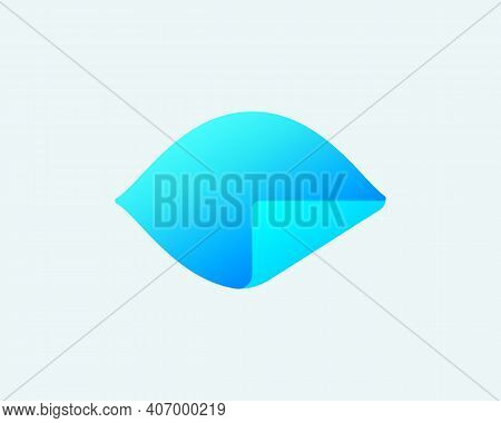 Abstract Gradient Eye With Paper Folded Corner Logo Design Template. Universal Creative Optic, Visio