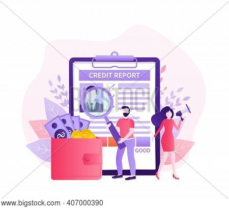 Credit Report With Hand. Business Card. Online Concept. Financial Chart. Online Concept.