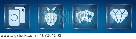 Set Deck Of Playing Cards, Casino Slot Machine With Strawberry, Deck Of Playing Cards And Diamond. S