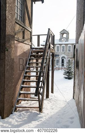 A Narrow Staircase Between The Houses. Narrow Opening
