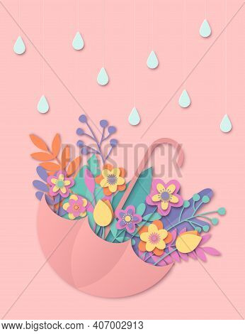 Colorful Paper Cut Floral Greeting Card Design Template. Colorful 3d Paper Art With Umbrella, Raindr