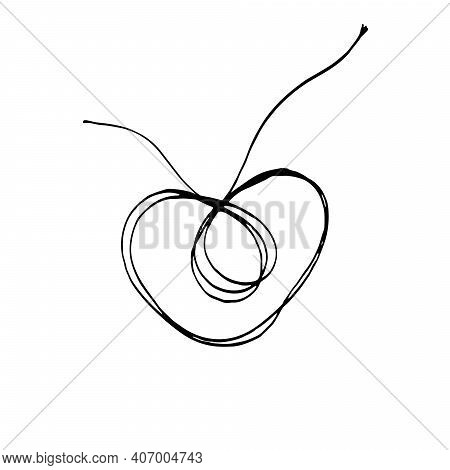 Traced Thread Heart For Valentines Day Decoration. Symbol Of Romantic Love. Outline Abstract Scrawl