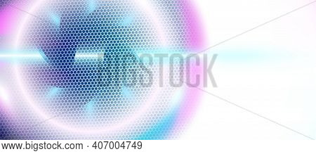 Light Blue Abstract Background Textured By Hexagons, Ufo Circle Blurred Interface With Hexs. Technol