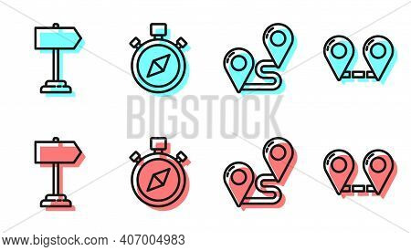 Set Line Route Location, Road Traffic Sign, Compass And Route Location Icon. Vector