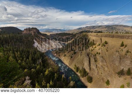 Yellowstone river in Yellowstone National Park, Wyoming, USA