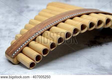Close-up Of Woodwind Instrument Pan Flute. Details Of Musical Instruments, Music. Selective Focus, B