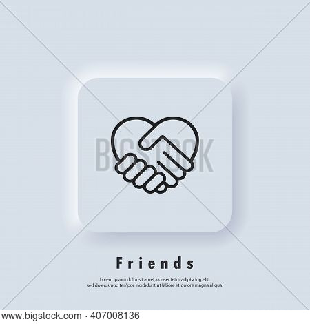 Handshake Icon, Heart Symbol. Hand Shake With Heart Shaped. Volunteering Icon. Charity Or Give Love