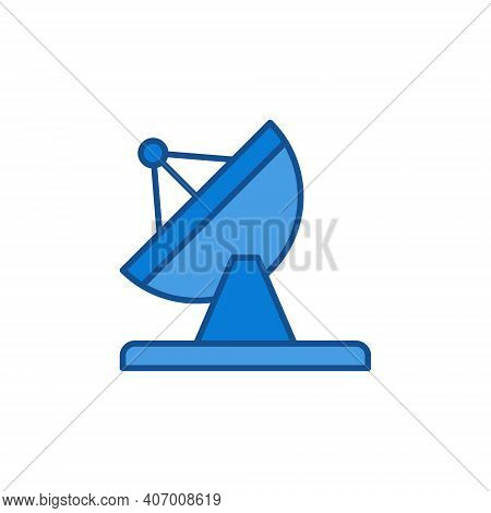 Parabolic Antenna Dish Tower Vector Concept Colored Icon Or Symbol