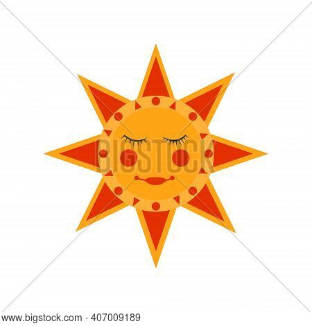 Russian Traditional Sun - Symbol Of The Traditional Holiday Carnival About Russian Pancake Week. Tra