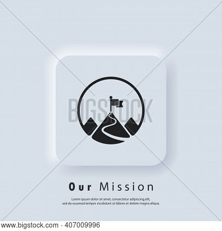 Mission Icon. Goal. Mission Logo. Mountain With A Flag. Vector. Ui Icon. Neumorphic Ui Ux White User